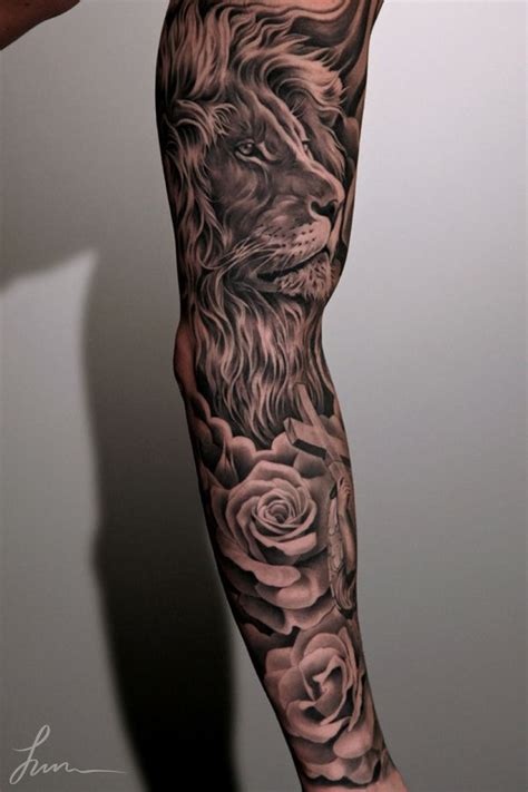 rose and lion tattoo adorable and