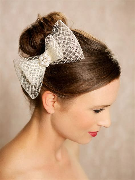 Wedding Hair Accessories Bow ivory bow bridal hair accessories birdcage bow
