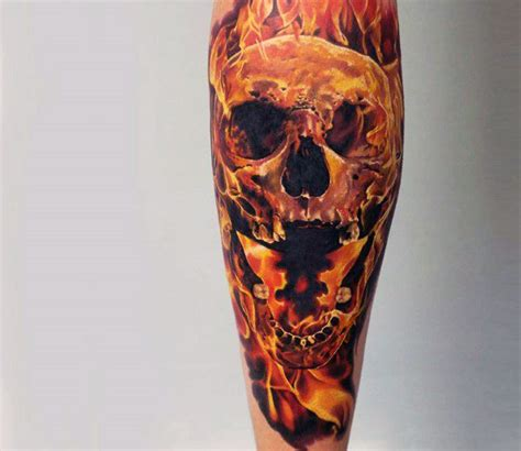flaming skull tattoos tattoo collections