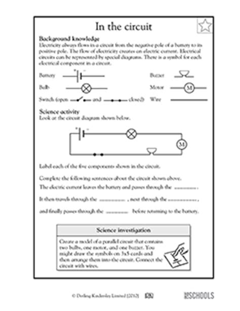 resistors grade 5 science 5th grade science worksheets parts of an electrical circuit diagram greatschools