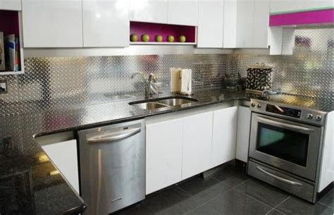 aluminum backsplash make a statement with a metallic kitchen backsplash