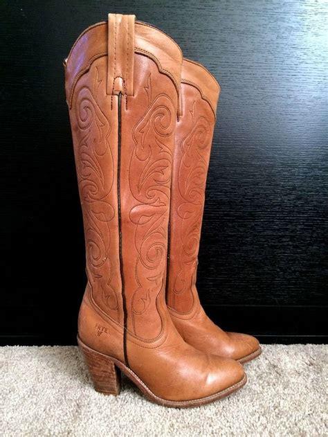 knee high cowboy boots favorite designer frye vintage brown leather knee