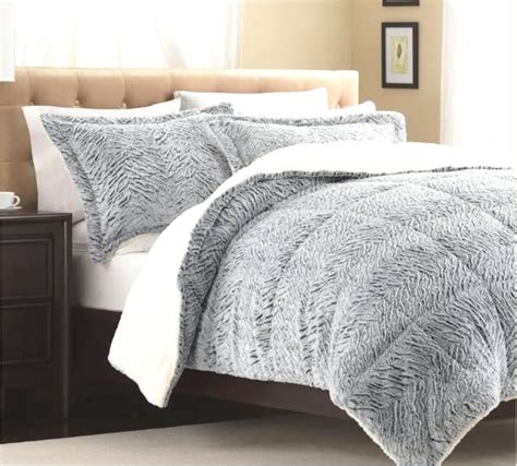 fur bedding sets silver white faux mink full queen comforter exotic