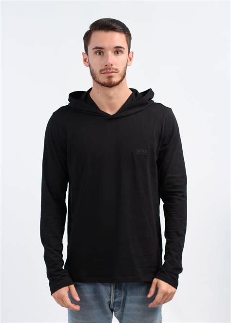 sleeve hooded shirt hugo black sleeve hooded shirt black