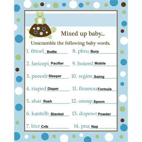 Baby Shower Word Scramble And Answers by Baby Shower Word Scramble Answers Blue Baby Shower