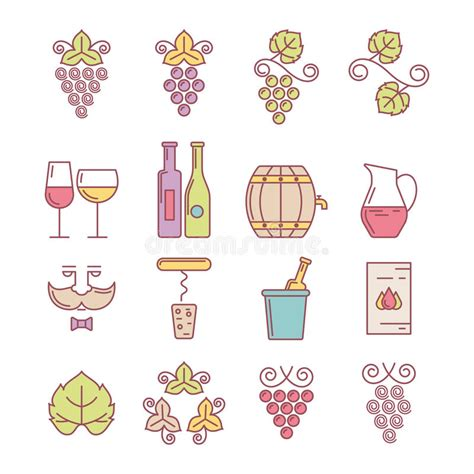 colorful logo design elements vector set wine bottle glass grape vine and leaf food and drink