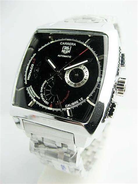 Jam Tangan Tagheuer Cal1887 Green Silver Black Leather accesories grosiran murah meriah jam tangan pria
