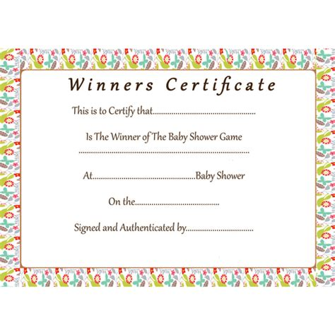 Floral Baby Shower Games Winner Certificate Baby Shower Host Baby Shower Gift Certificate Template