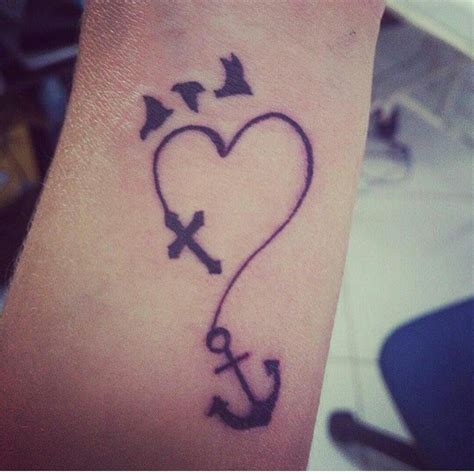 heart with a cross tattoo birds cross anchor we it