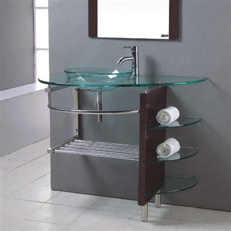 glass top vanities bathrooms shop kokols usa clear single vessel sink bathroom vanity