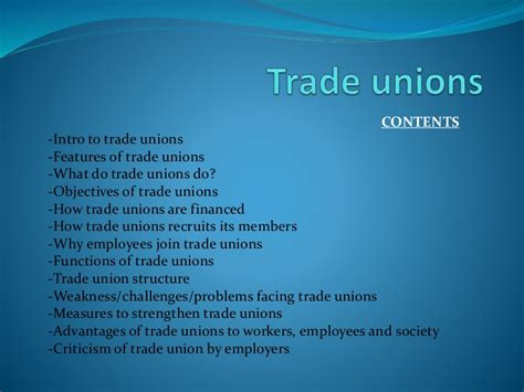 Objectives Of Trade Union Mba by Trade Unions Objectives Challenges Advantages Features