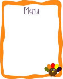 menu outline template bed rested free thanksgiving pack of printables