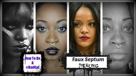 diy septum piercing rihanna inspired diy faux piercings faux septum ring how to septum piercings in