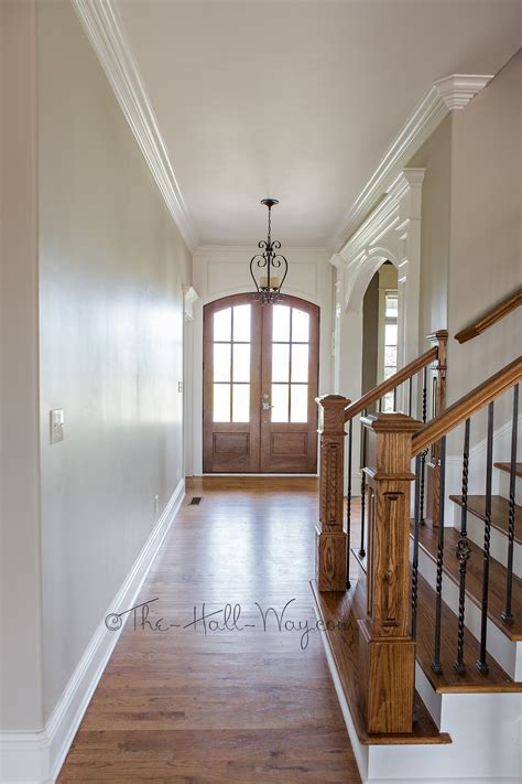 foyer with behr sculptor clay and silky white trim revere pewter knockoff paint colors
