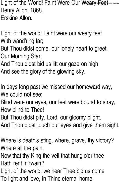 Of Light Lyrics by Hymn And Gospel Song Lyrics For Light Of The World Faint