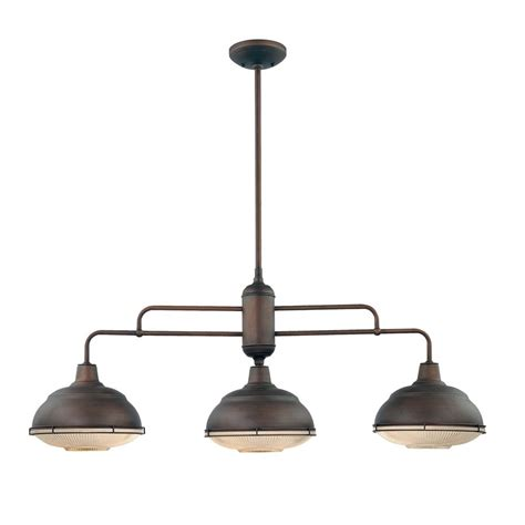 Island Pendant Light Fixtures Shop Millennium Lighting Neo Industrial 41 In W 3 Light Rubbed Bronze Contemporary Modern