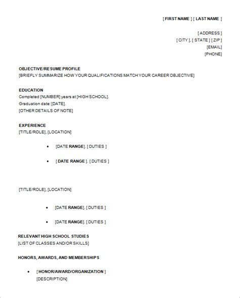 sles of high school resumes 10 high school resume templates free pdf word psd