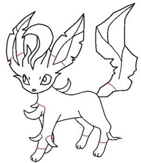 How To Draw Leafeon Step By Step Pokemon Characters Leafeon Coloring Pages