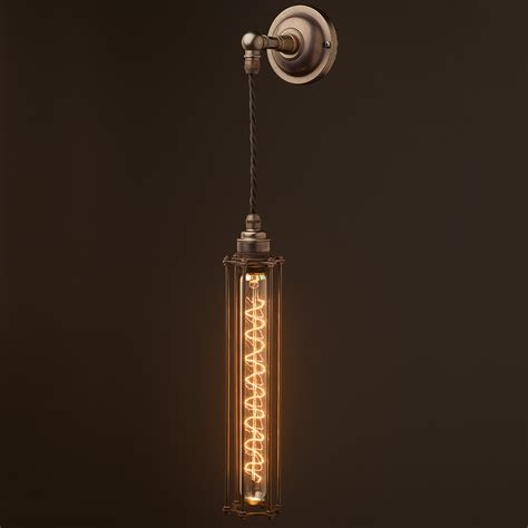long pendant light bronze long bulb cage wall pendant l