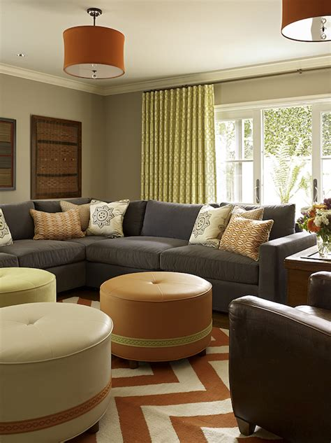 orange and gray living room gray sectional contemporary living room artistic