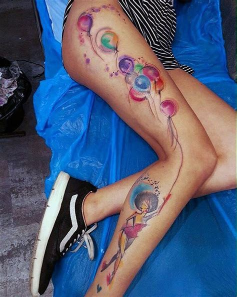 lady releasing balloons best tattoo design ideas