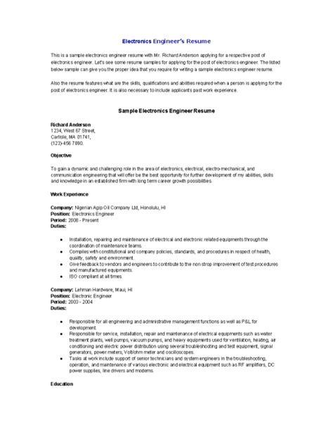 Electronic Resume Sample – Electronic Engineer Resume Format