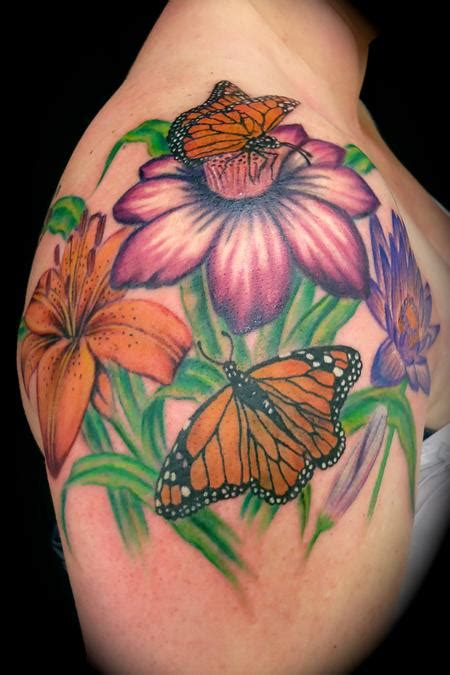 flowers amp butterflies by ryan el dugi lewis tattoonow