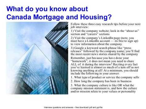 canadian housing and mortgage canada mortgage and housing interview questions and answers
