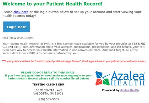 Patient Portal Welcome Letter exle of the patient portal welcome email azalea help