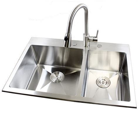 Mount Kitchen Sink 33 inch top mount drop in stainless steel bowl