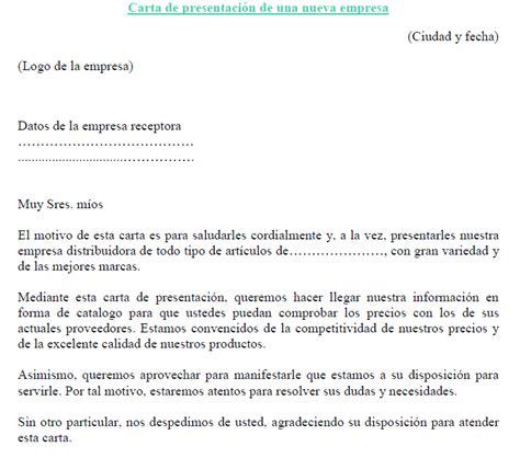 ejemplo de carta de presentacin para una empresa ejemplo de carta de presentaci 243 n de una nueva empresa