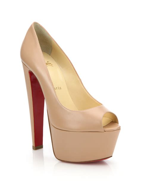 Barratts Platform Peep Toes by Christian Louboutin Satin Peep Toe Pumps Louboutin