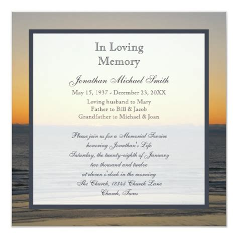 Memorial Service Announcement Invitation Zazzle Com Memorial Service Announcement Template Free