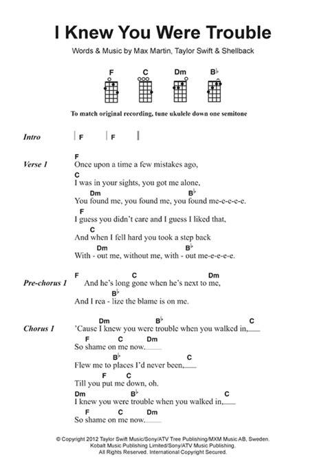 taylor swift easy ukulele chords i knew you were trouble sheet music by taylor swift