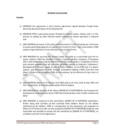 joint venture agreement template joint venture agreement 9 free word pdf documents