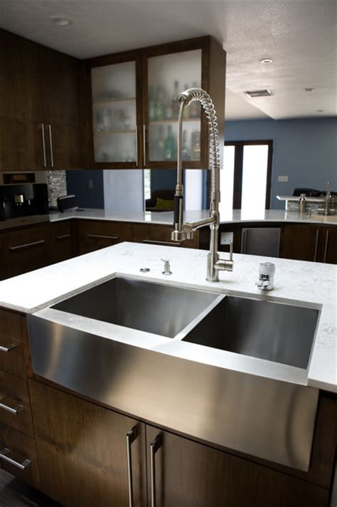 Stainless Steel Farm Sinks For Kitchens Stainless Steel Farmhouse Sink Contemporary Kitchen Sinks Los Angeles By Lavello Sinks