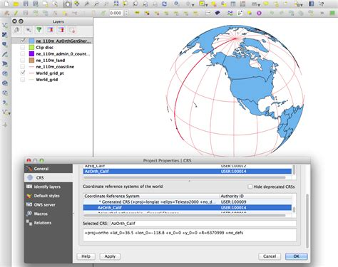 qgis projection tutorial qgis azimuthal orthographic projection qgis2 6