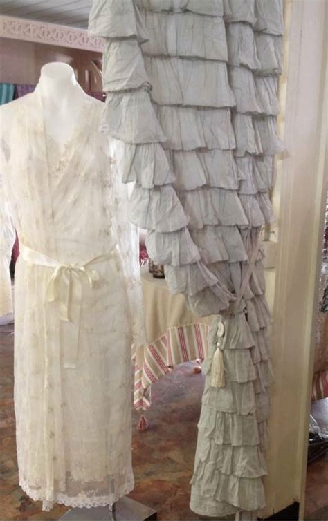 set   shabby french provincial chic grey petticoat ruffle curtain drape panel ebay