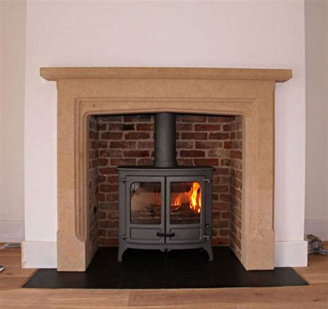 Brick Fireplace Chamber by Carved Limestone Mantel With Slate