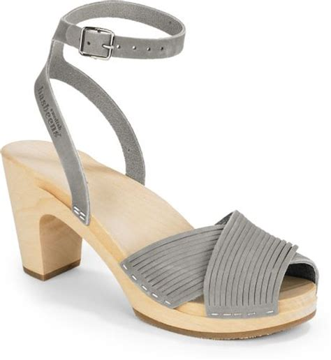 silver clog sandals swedish hasbeens strappy clog sandals in silver grey lyst