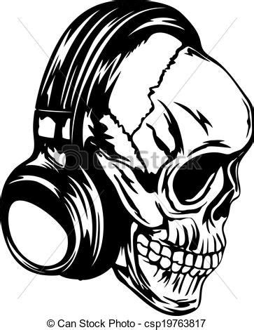 Skull with Headphones Art | Vector illustration human