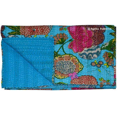 Floral Print Blanket size turquoise blue floral print kantha quilt