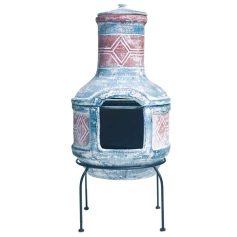 la hacienda geometric with grill clay chiminea medium 87cm