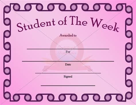 student of the week template student of the week certificate template student