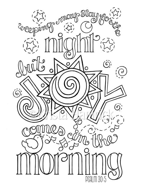 bible coloring pages joy joy comes in the morning coloring page in two sizes 8 5x11