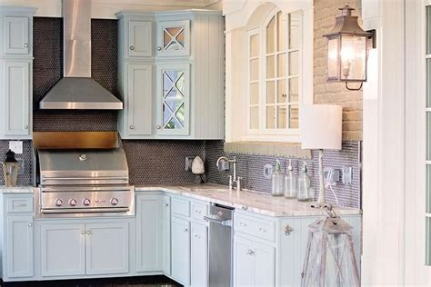 Kitchen Cabinets In Gray Blue And Gray Kitchen Features Blue Shaker Cabinets