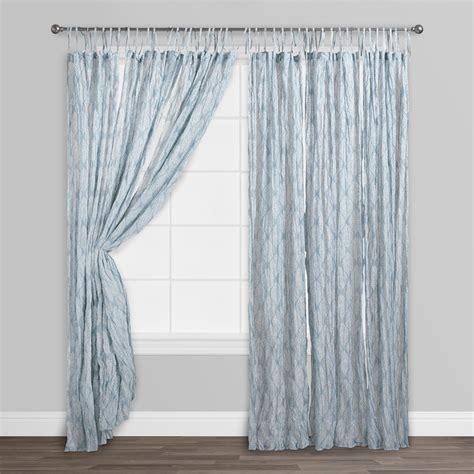 white crinkle sheer curtains blue kashvi crinkle sheer voile curtains set of 2 cotton