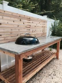 cedar wood outdoor kitchen with a concrete countertop and pros and cons of built in kitchen appliances adding
