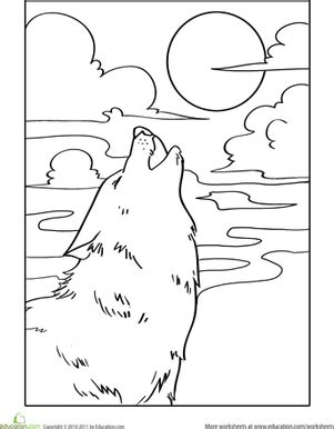 preschool wolf coloring pages howling wolf worksheet education com