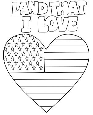 american flag heart coloring page printable coloring page for independence day